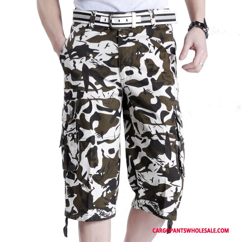 Capri Pants Male Camouflage White Pants Capri Pants Men Summer Loose Large Size