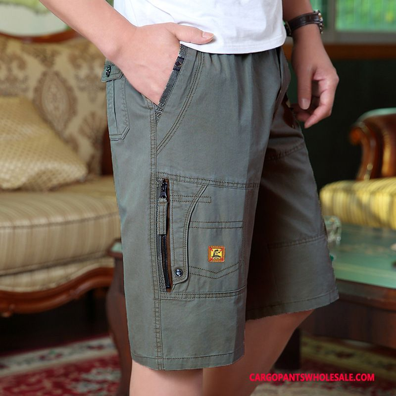 Capri Pants Male Deep Gray Middle Aged Capri Pants Men Leisure Zipper Shorts