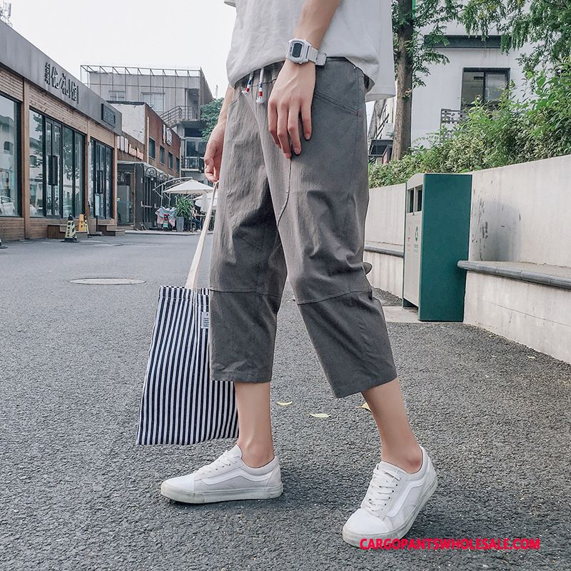 Capri Pants Male Deep Green Gray Summer Pants Men Trend Loose Elastic