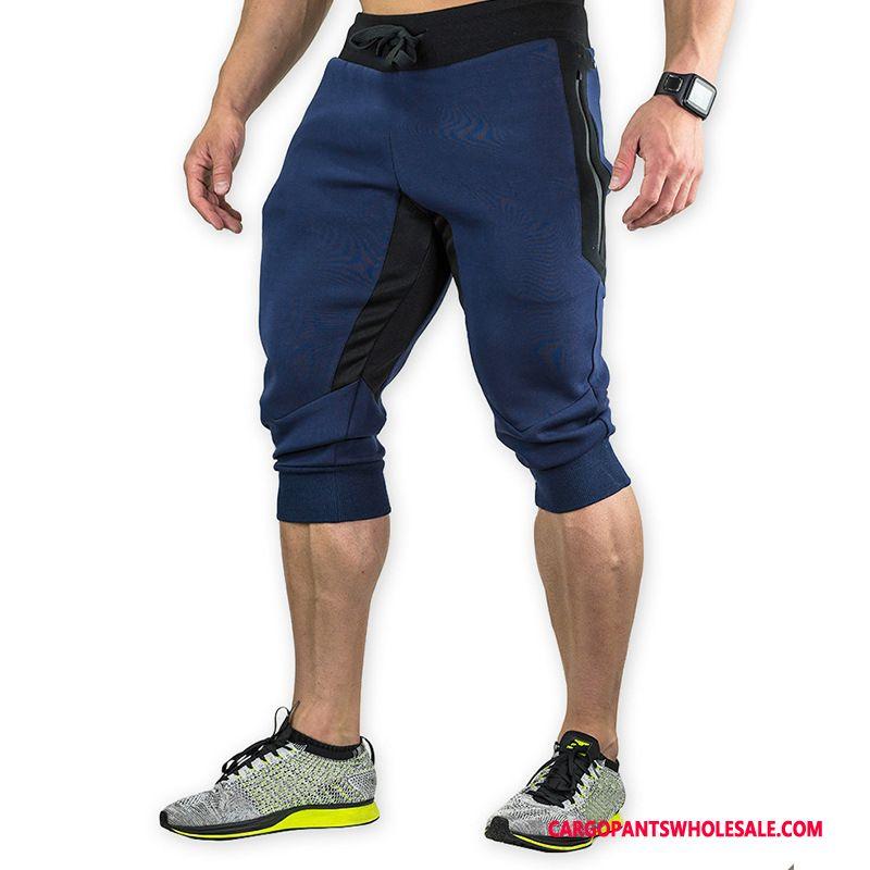 Capri Pants Male Gray Capri Pants Run Fitness Motion Quick Drying