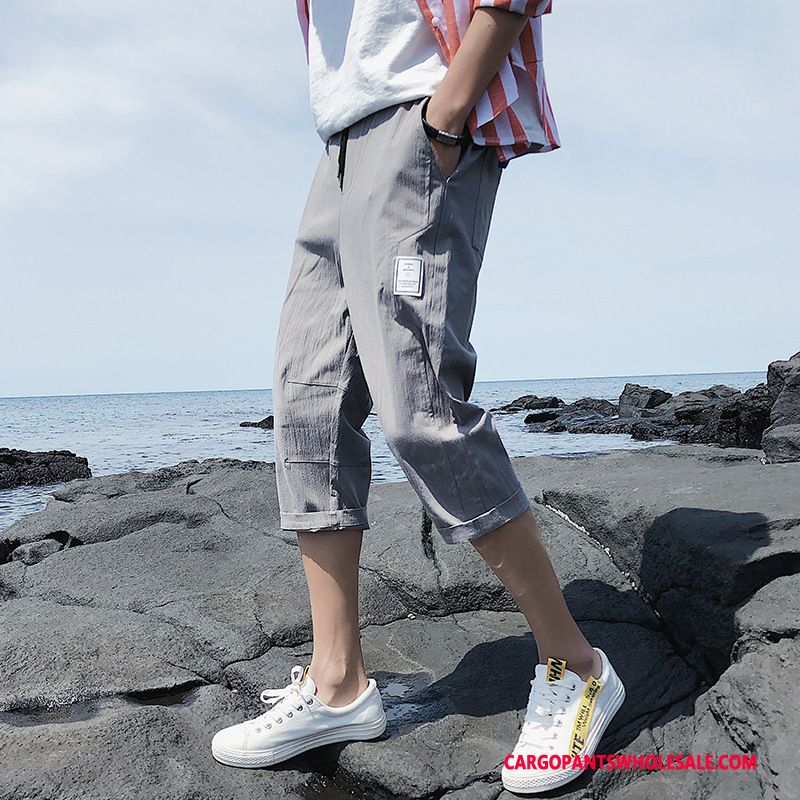 Capri Pants Male Gray Capri Pants Summer Leisure The New Trend