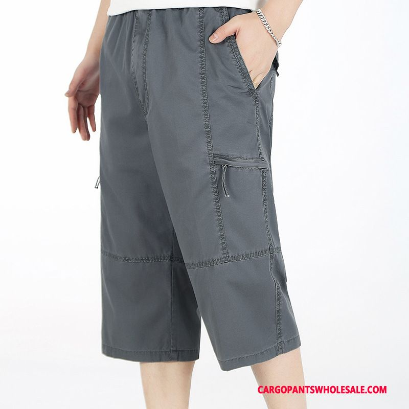 Capri Pants Male Gray Capri Pants Summer Loose Leisure Casual Pants