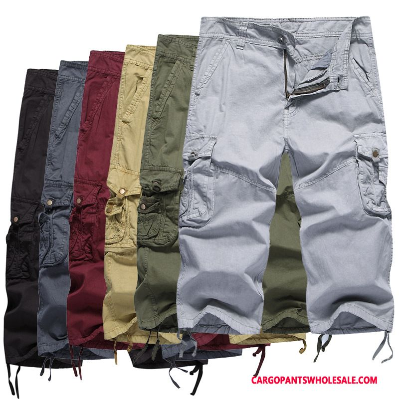 Capri Pants Male Gray Cargo Pants Washed Multi-pocket Straight Capri Pants