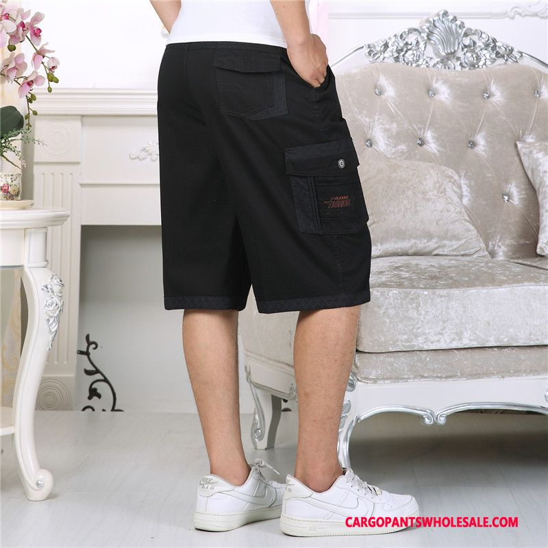 Capri Pants Male Gray Loose Middle Aged Beach Cargo Summer