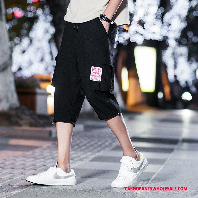 Capri Pants Male Gray Multi-pocket Cargo Leisure Capri Pants Loose