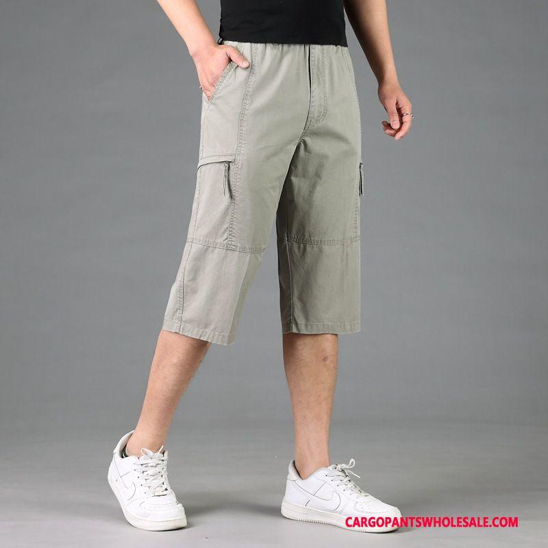 Capri Pants Male Gray Pants Leisure Fat Cotton Loose