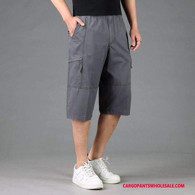 Capri Pants Male Gray Pants Leisure Fat Cotton Loose