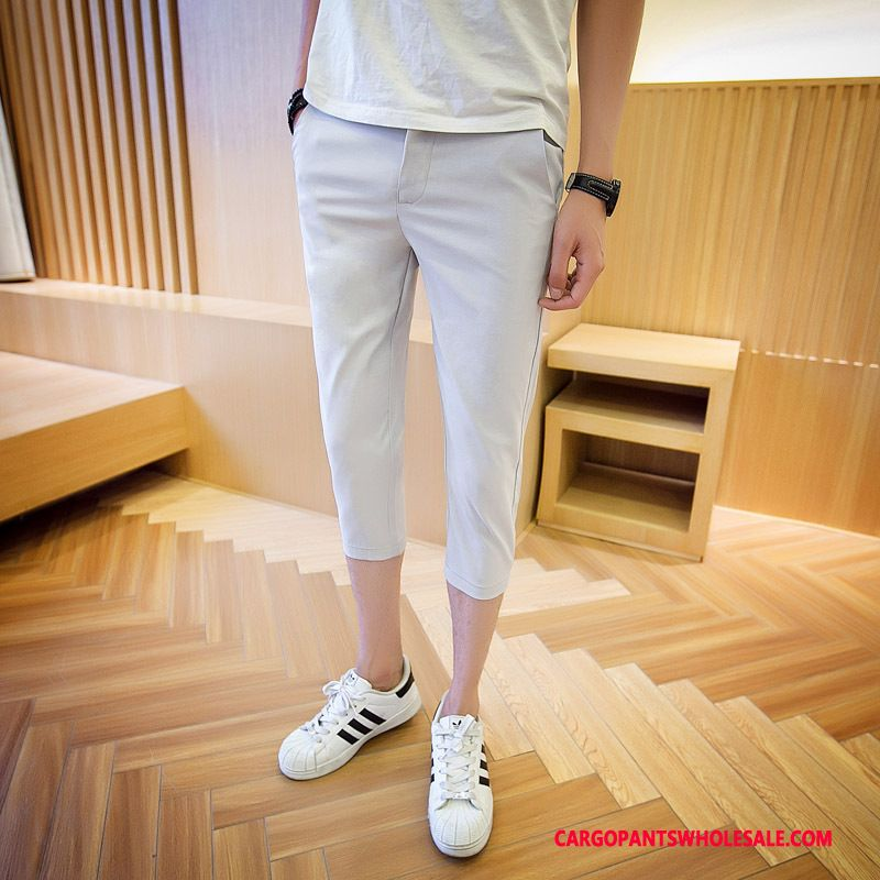 Capri Pants Male Gray Shorts Capri Pants Men Stretch Pants Casual Pants Summer
