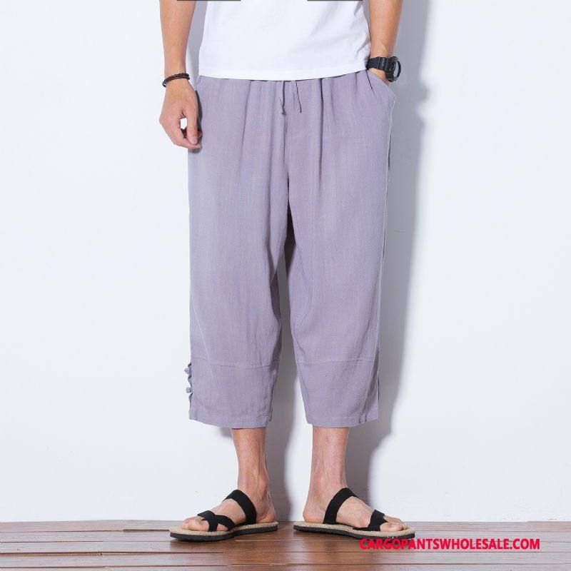 Capri Pants Male Gray The New Loose Men Fashion Chinese Style Shorts