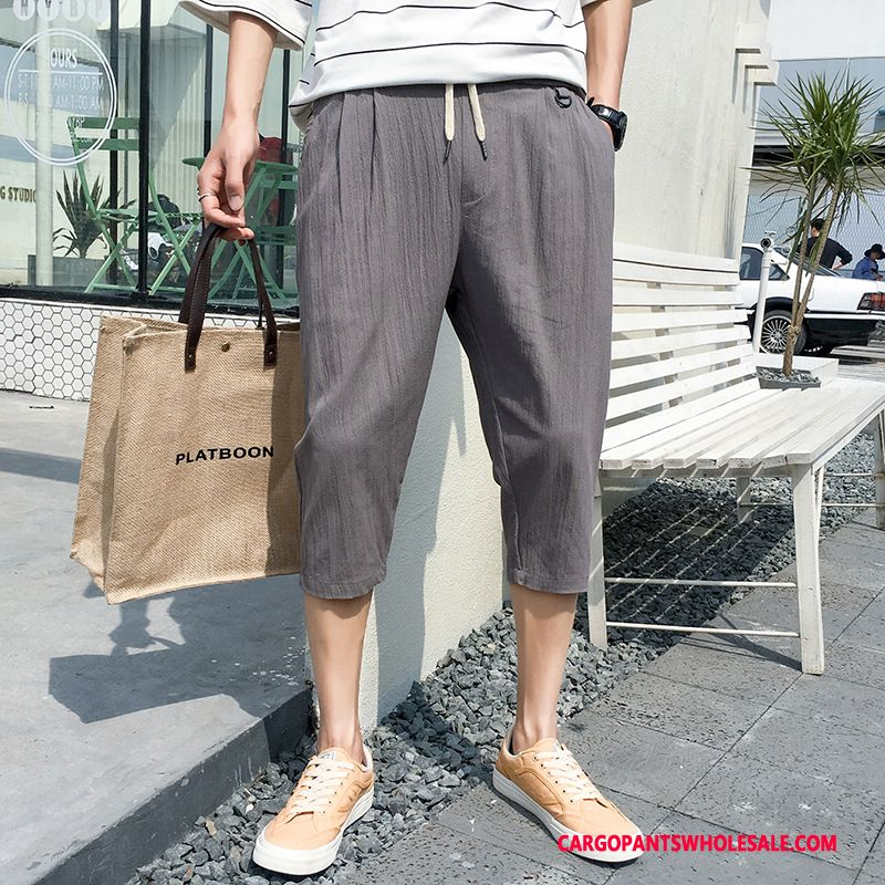 Capri Pants Male Gray Tide Shorts Men Pants Slim Fit Capri Pants