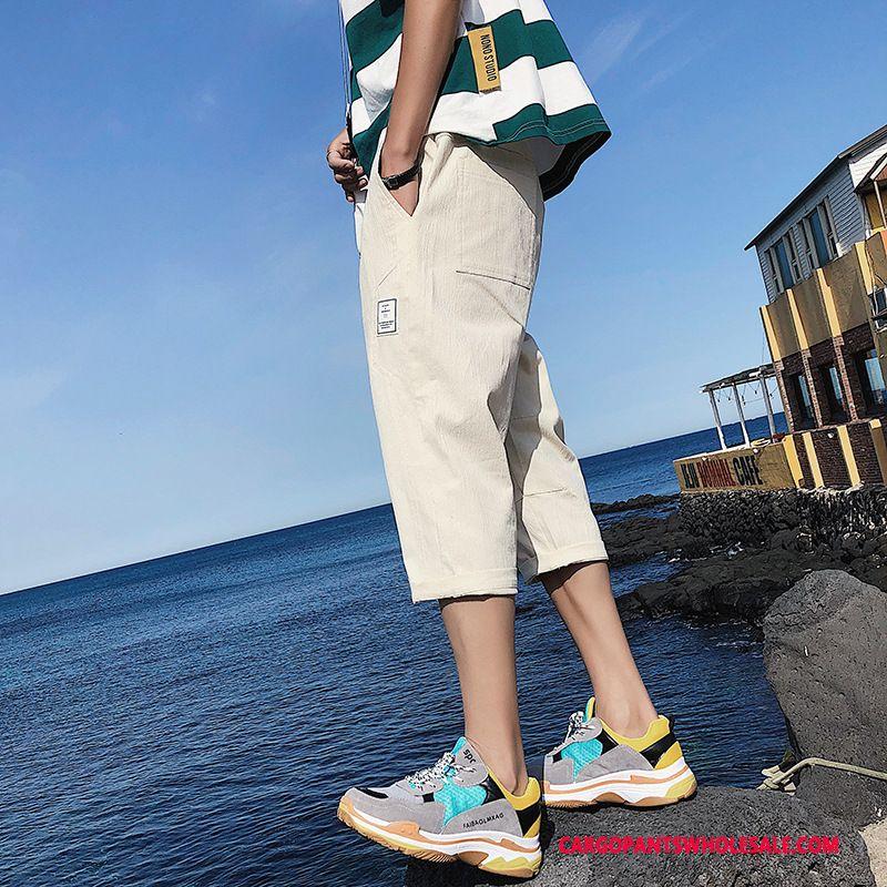 Capri Pants Male Gray Trend Pants Men Capri Pants Junior High School Slim Fit