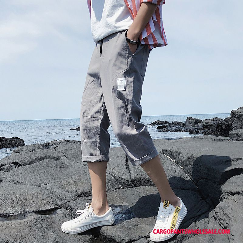 Capri Pants Male Gray Trend Pants Men Capri Pants Junior High School Slim Fit
