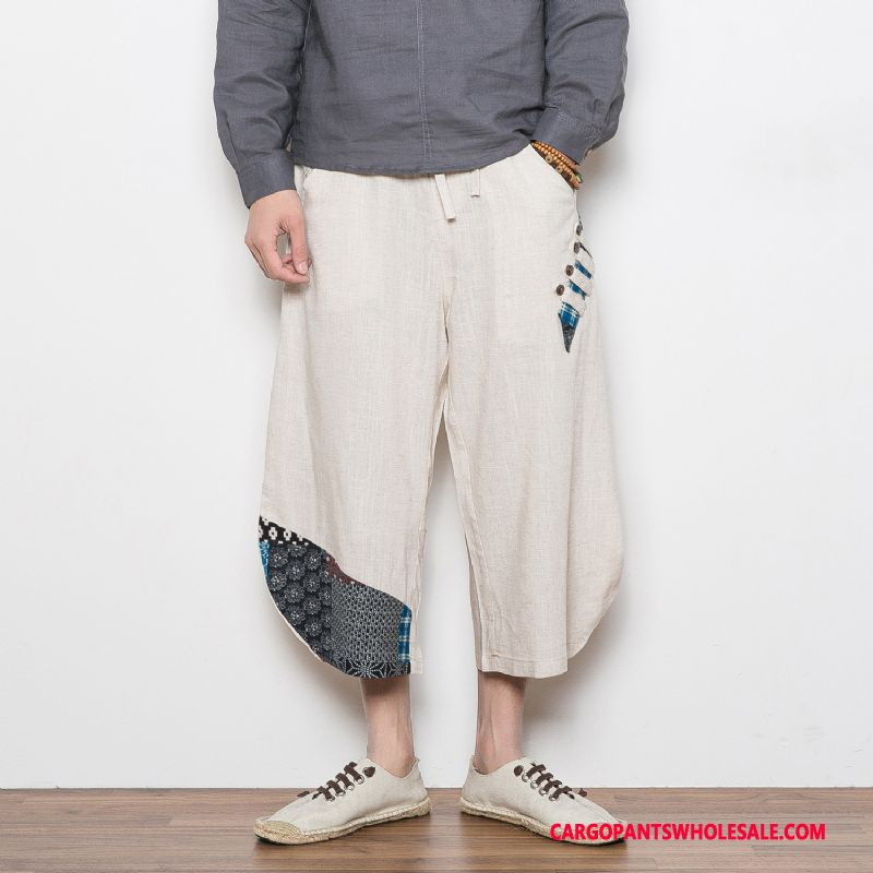 Capri Pants Male Green Casual Pants Chinese Style Thin Section Linen Retro