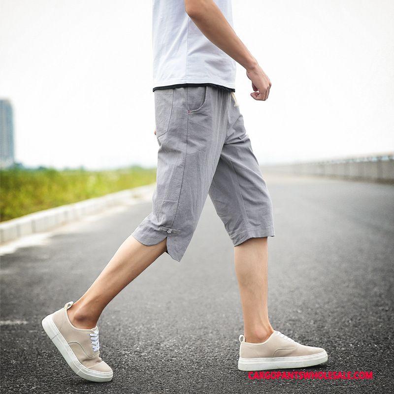 Capri Pants Male Green Cotton And Linen Shorts Capri Pants Medium Leisure