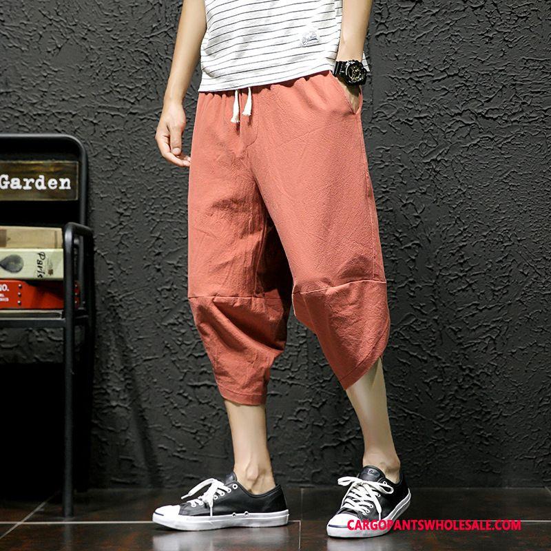 Capri Pants Male Green Gray Capri Pants Juvenile Men Casual Pants Loose Plus Size