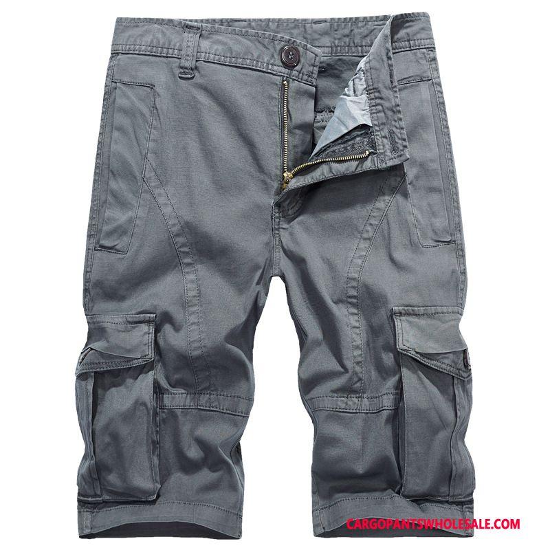 Capri Pants Male Green Gray Multiple Pockets Thin Section Summer Shorts Capri Pants