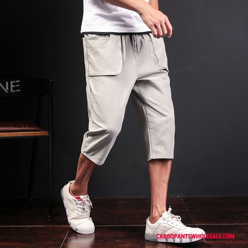 Capri Pants Male Green Gray The New Capri Pants Men Solid Color Cotton And Linen Big Pocket