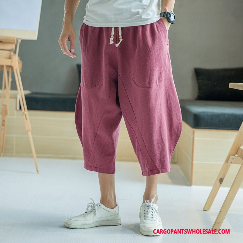 Capri Pants Male Green Leisure Pants Men Loose Capri Pants Cotton And Linen