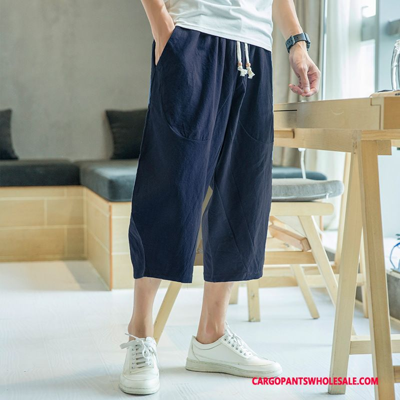Capri Pants Male Green Leisure Pants Men Loose Capri Pants Cotton And Linen