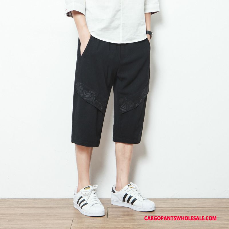 Capri Pants Male Green Linen Fashion Summer Thin Section Cotton And Linen