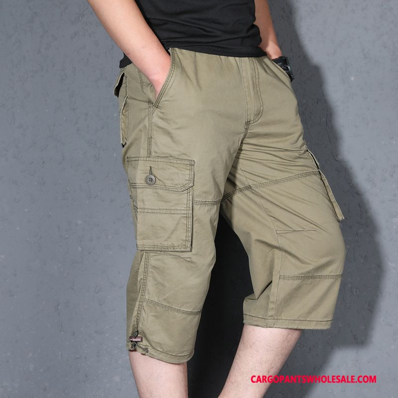 Capri Pants Male Green Loose Multiple Pockets Men Capri Pants Summer Plus Size