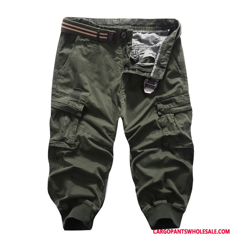 Capri Pants Male Green Multi-pocket Leisure Cargo Capri Pants Shorts