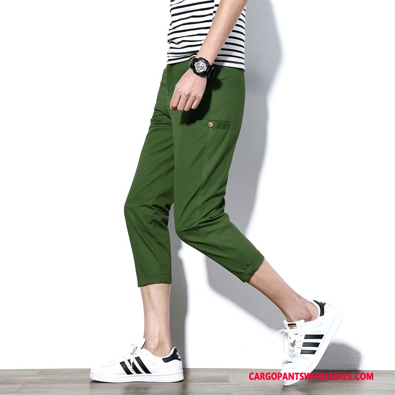 Capri Pants Male Green Slim Fit Solid Color Pants Capri Pants Plus Size