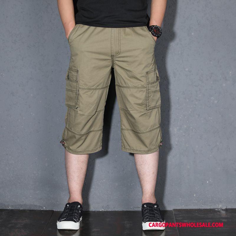 Capri Pants Male Green Summer Plus Size Men Multiple Pockets Pants Big