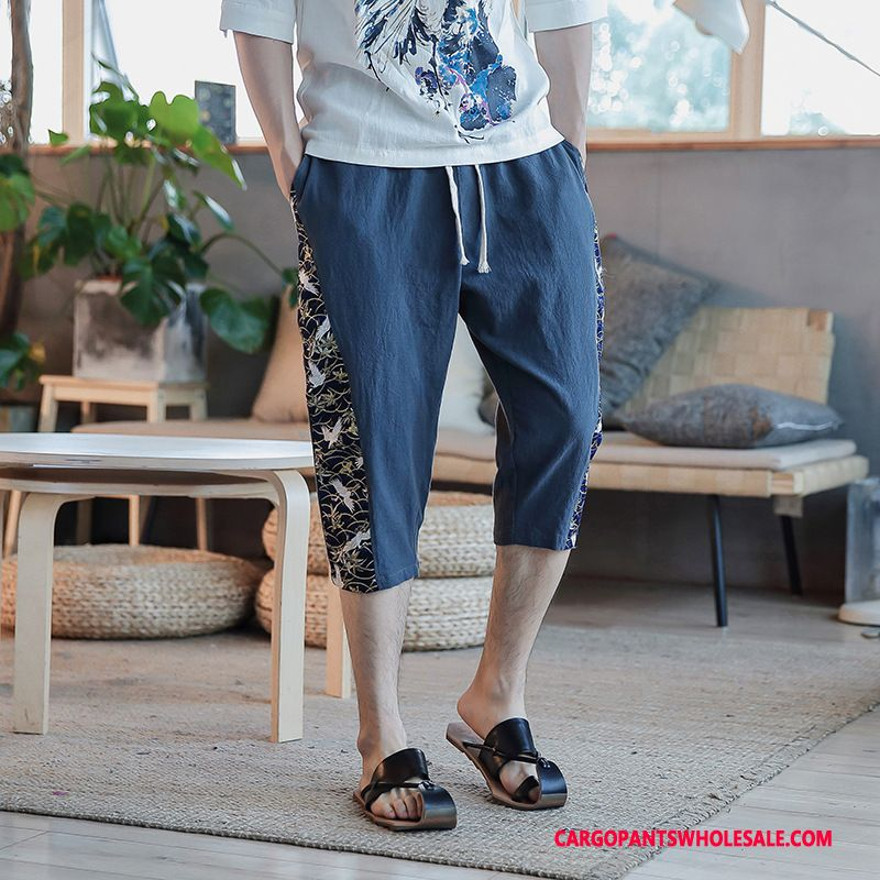 Capri Pants Male Green The New Chinese Style Men Loose Harlan Shorts