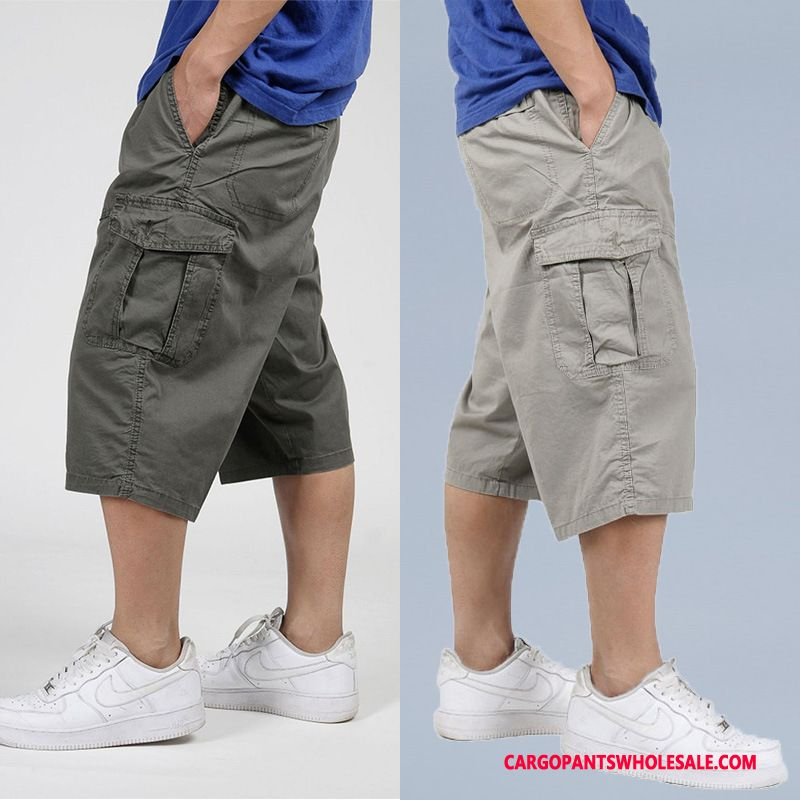 Capri Pants Male Khaki Capri Pants Plus Size Men Cargo Pants Casual Pants Large Size