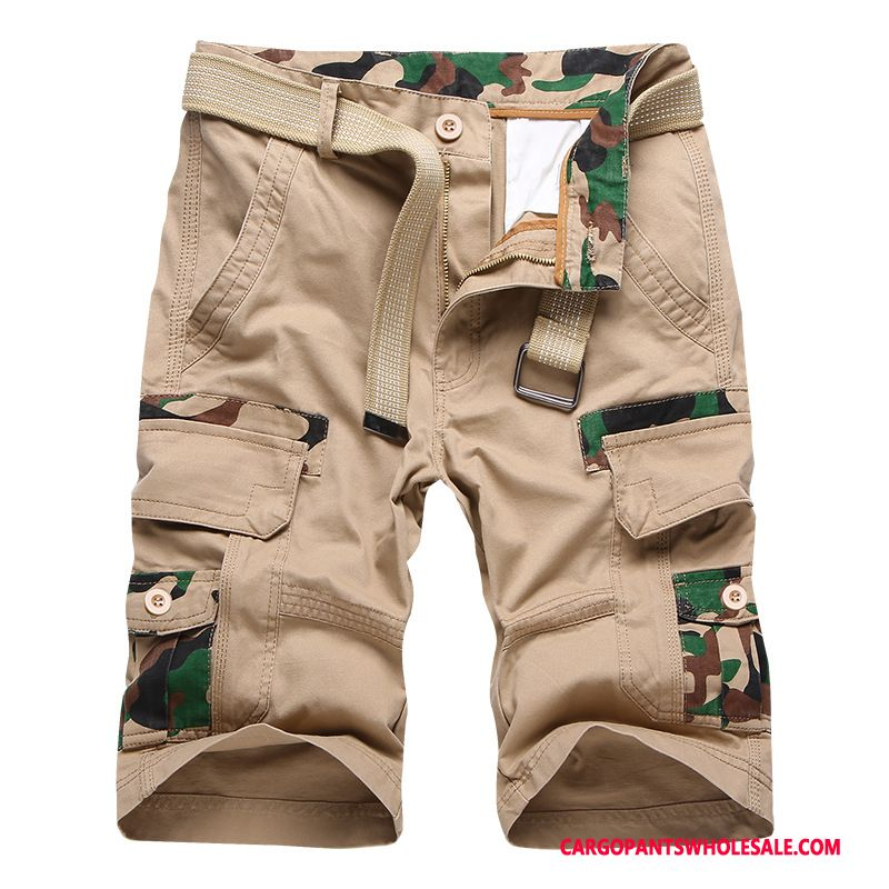 Capri Pants Male Khaki Green Capri Pants Summer Cargo Loose Shorts
