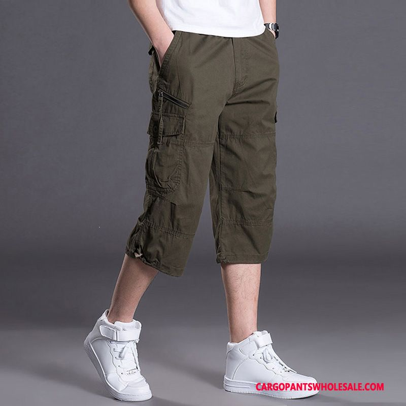 Capri Pants Male Khaki Green Shorts Motion Summer Pants Leisure