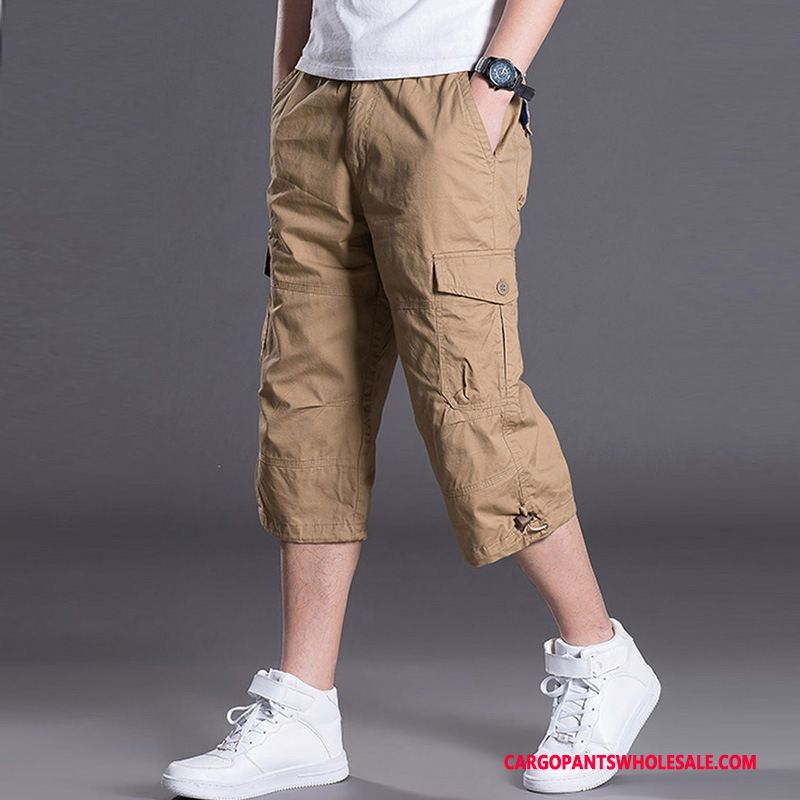 Capri Pants Male Khaki Green Shorts Motion Summer Pants Leisure