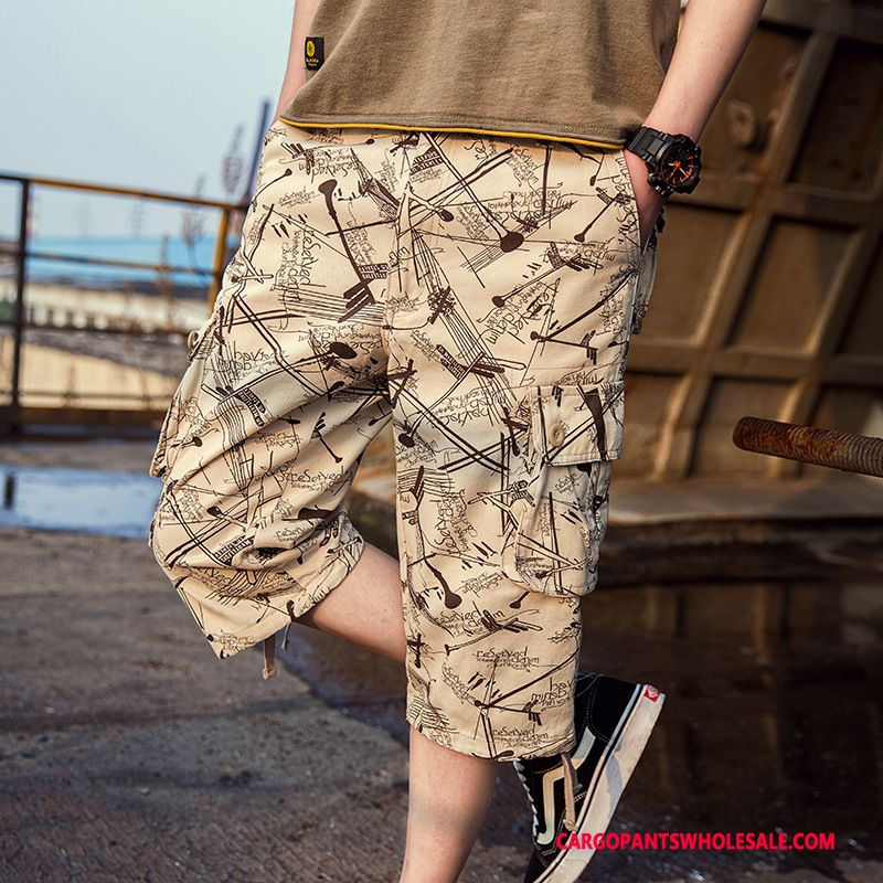 Capri Pants Male Khaki Large Size Pants Men Thin Section Loose Summer