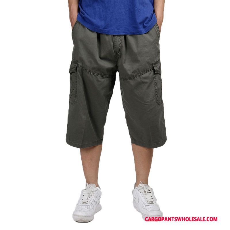 Capri Pants Male Khaki Pants Plus Size Men Capri Pants Large Size Cargo Pants