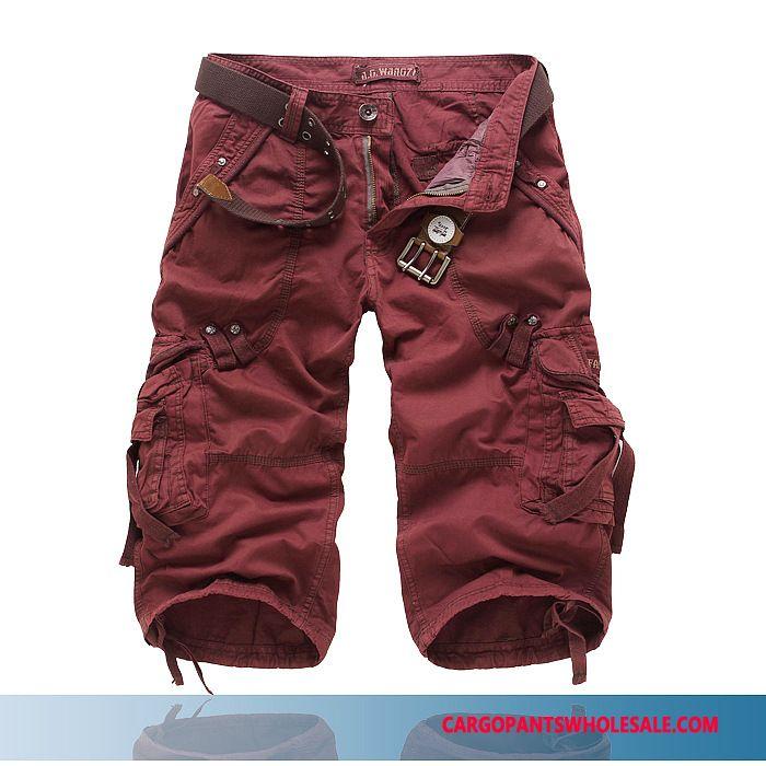Capri Pants Male Khaki Solid Color Pants Men Cotton Cargo Washed