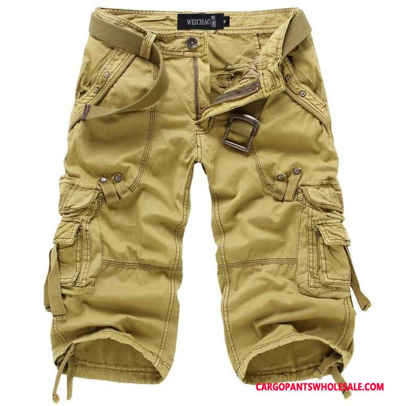 Capri Pants Male Khaki Solid Color Pants Men Cotton Cargo Washed
