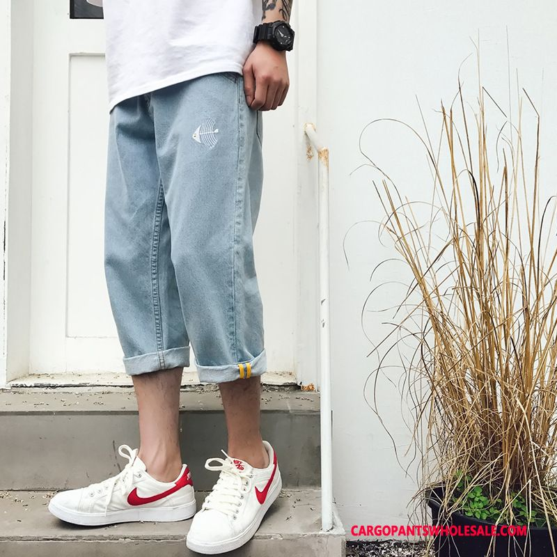 Capri Pants Male Light Blue Green Small Trend Shorts Capri Pants Summer