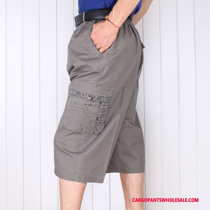 Capri Pants Male Light Gray Large Size Thin Section Middle Aged Cotton Elastic