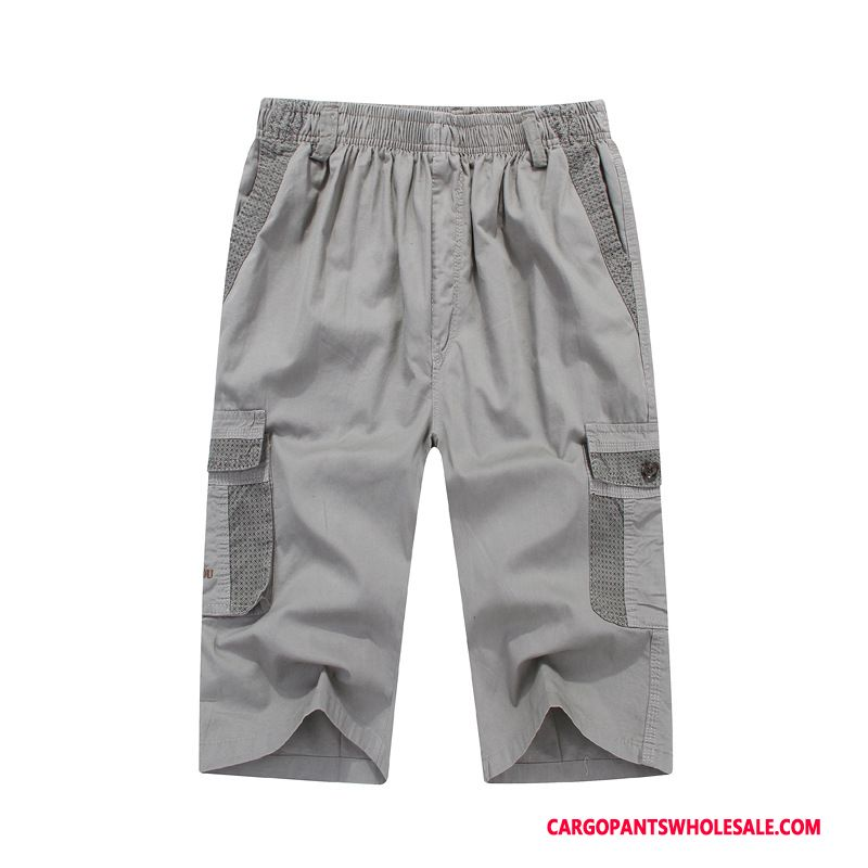Capri Pants Male Light Gray Leisure Elastic Men Cotton Pants Capri Pants