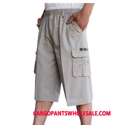 Capri Pants Male Light Gray Multi-pocket Capri Pants Men Cargo Motion Loose