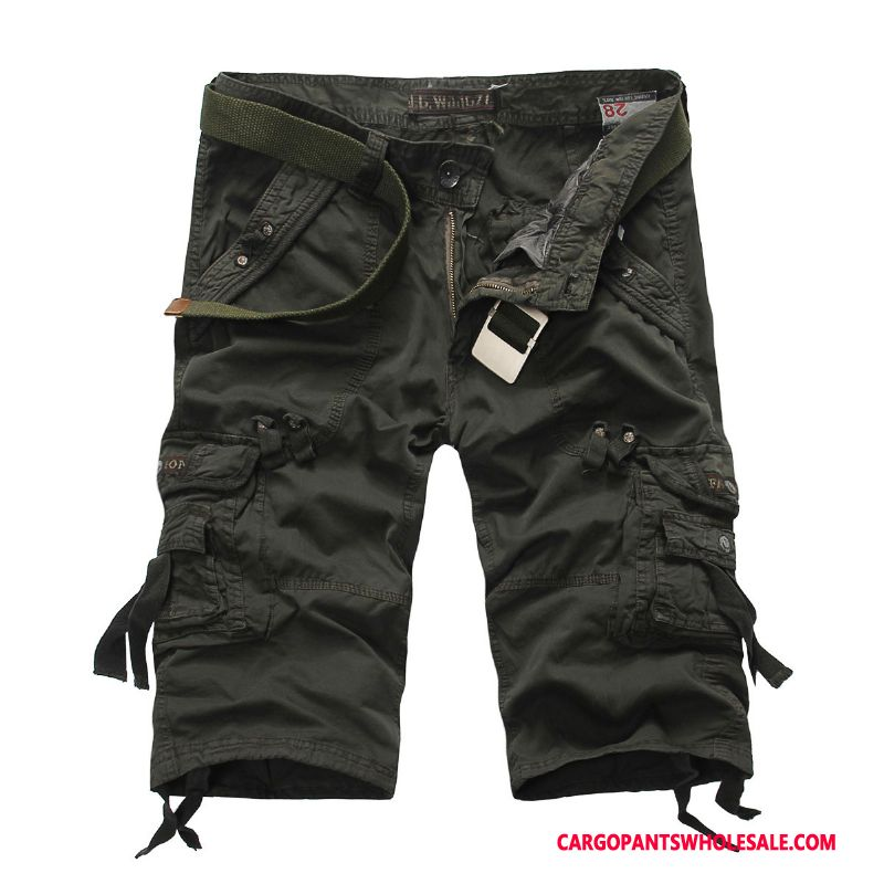 Capri Pants Male Light Gray Multi-pocket Loose Cotton Pants Summer