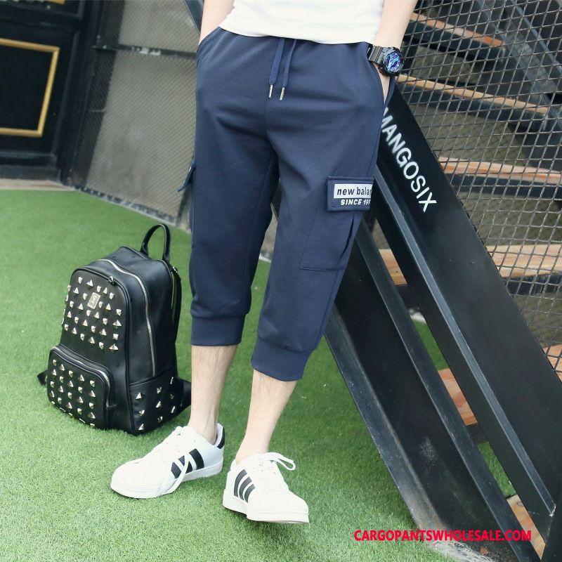 Capri Pants Male Navy Blue Beam Foot Cargo Pants Sweatpants Thin Section Leisure