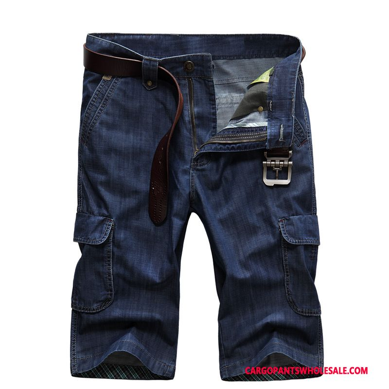 Capri Pants Male Navy Blue Loose Large Size Men Summer Jeans Pants