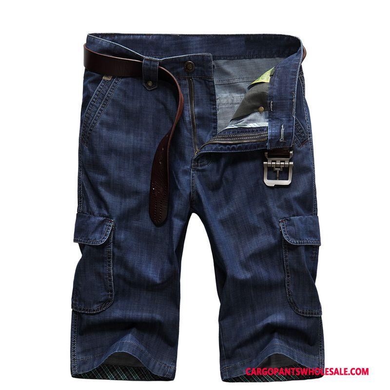 Capri Bukser Mænd Mørkeblå Cowboybukser Brede Herre Store Størrelser Bukser Mellem