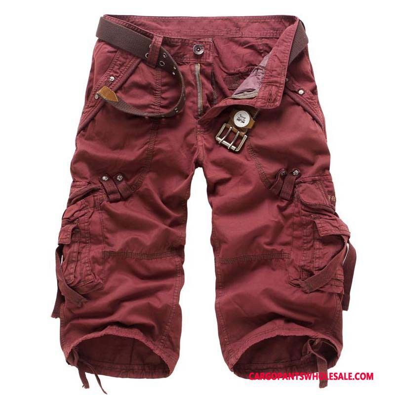 Capri Pants Male Red Cargo Pants Multi-pocket Loose Outdoor Capri Pants