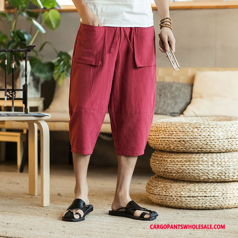 Capri Pants Male Red Casual Pants Capri Pants Large Size Cargo Pants Thin Section