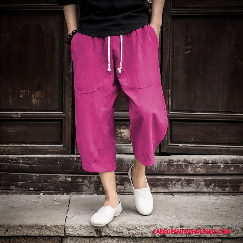 Capri Pants Male Red Harlan Loose Pants Capri Pants Big