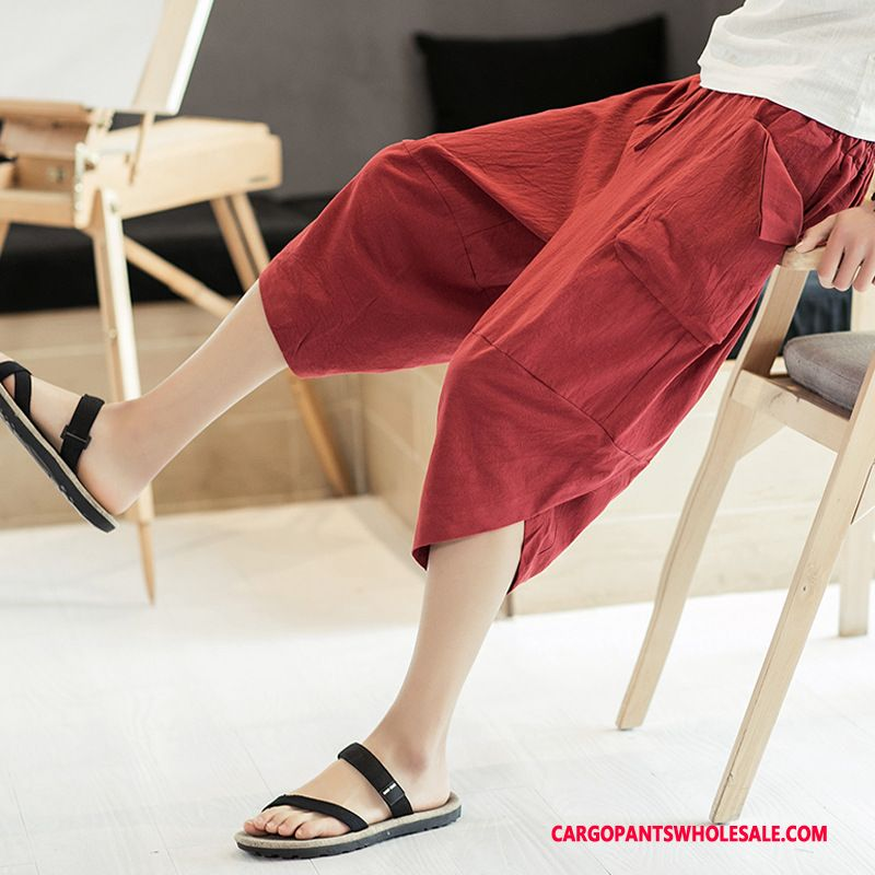 Capri Pants Male Red Large Size Motion Shorts Summer Thin Section