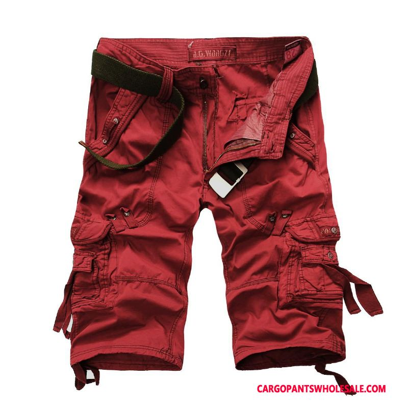 Capri Pants Male Red Large Size Pants Multi-pocket Loose The New
